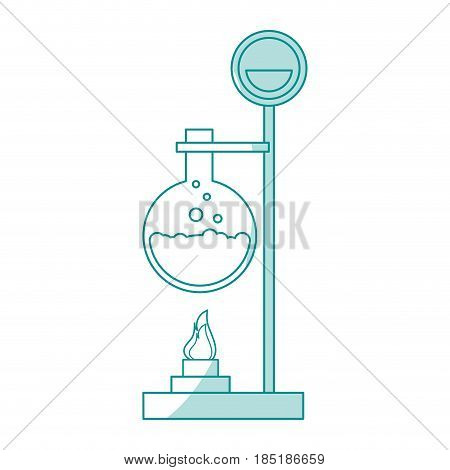 blue silhouette shading image lab setup with glass circular beaker vector illustration