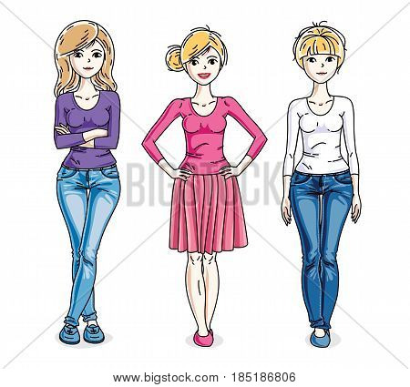 Attractive Young Women Standing Wearing Fashionable Casual Clothes. Vector Characters Set.