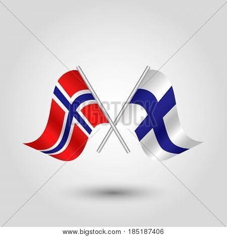 vector two crossed norwegian and finnish flags on silver sticks - symbol of norway and finland