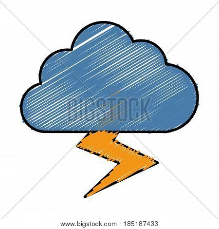 thunder and cloud icon over white background.  colorful design. vector illustration