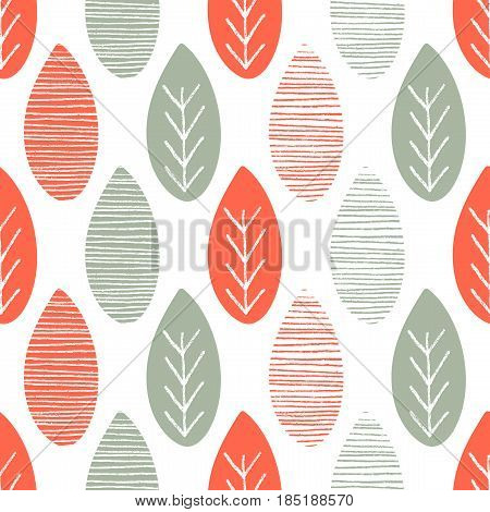 Seamless nature vector pattern. Orange and green leaves with lines and twigs on white background. Hand drawn abstract autumn ornament
