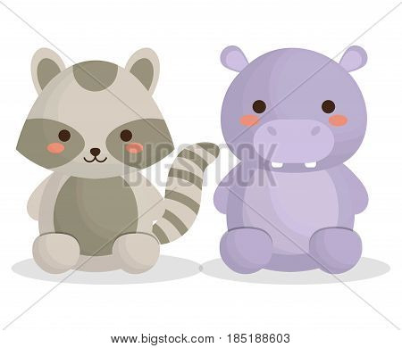 cute raccoon and hippopotamus animals icon over white background. colorful design. vector illustration
