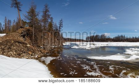 The beginning of the ice break on the Chulman River in South Yakutia Russia