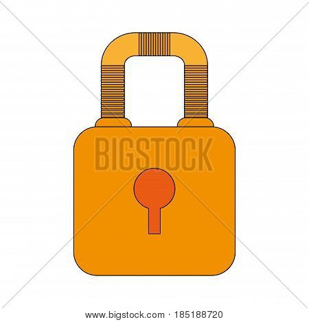 color image cartoon padlock with body and shackle vector illustration