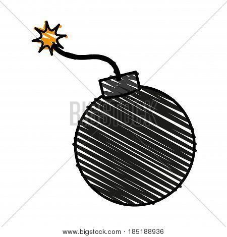 color crayon stripe cartoon boom ready to explode vector illustration