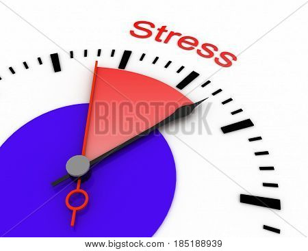 Clock With Red Seconds Hand Area Burnout 3D Stress.rendered Illustration