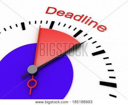 Clock With Red Seconds Hand Area Burnout 3D Deadline.rendered Illustration