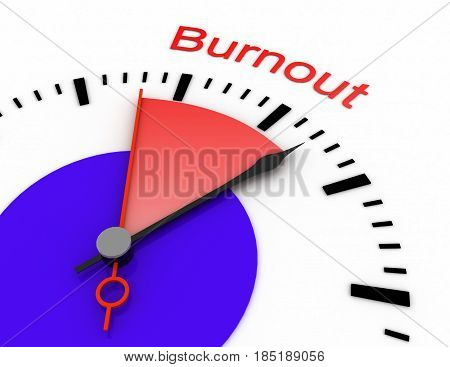 Clock With Red Seconds Hand Area 3D Burnout.rendered Illustration