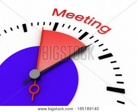 Clock With Red Seconds Hand Area Burnout 3D Meeting.rendered Illustration