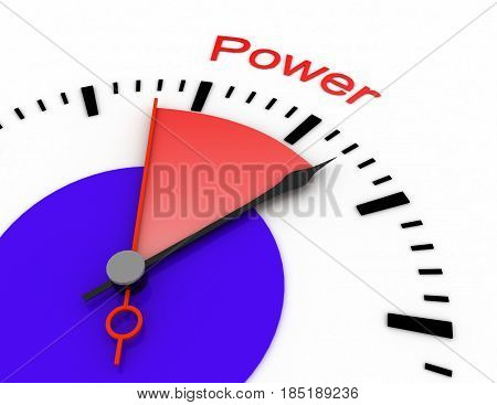 Clock With Red Seconds Hand Area Burnout 3D Power.rendered Illustration