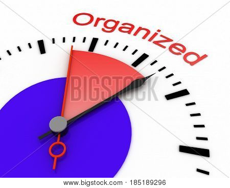 Clock With Red Seconds Hand Area Burnout 3D Organized.rendered Illustration