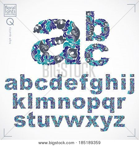 Floral font hand-drawn vector lowercase alphabet letters decorated with botanical pattern. Blue ornamental typescript vintage design lettering.