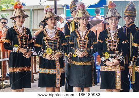 Penampang,Sabah-May 30,2016:Beautiful Kadazandusun woman of Sabah,Borneo in traditional costume during Kaamatan festival.Harvest festival,its a major yearly event for the Kadazandusun in Sabah,Borneo.