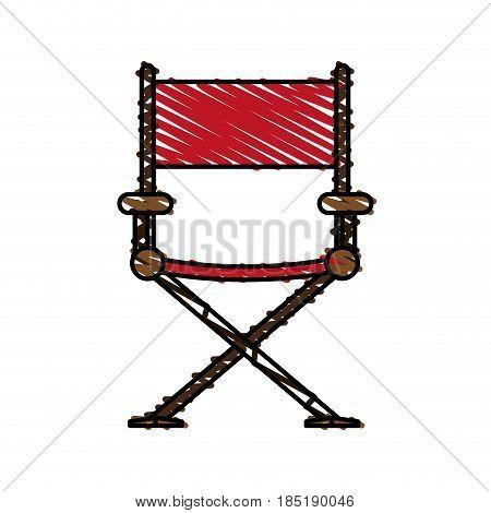 color crayon stripe image cartoon cinema director chair vector illustration