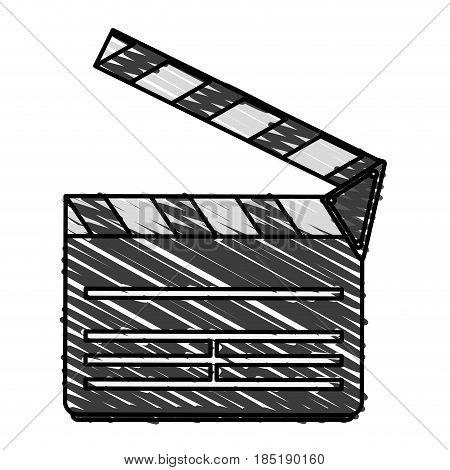 color crayon stripe image cartoon movie clapperboard icon vector illustration
