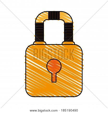 color crayon stripe image cartoon padlock with body and shackle vector illustration