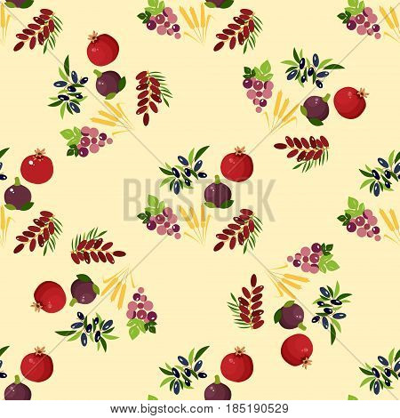 Seamless pattern with Shavuot species. Fig and pomegranate and wheat, grapes, date fruit and olive