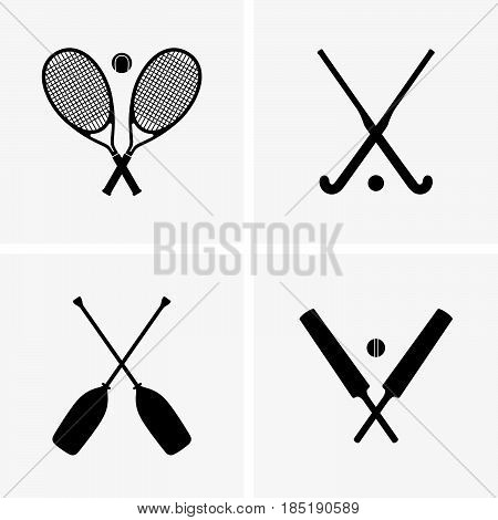 Set of tennis, cricket, field hockey, rafting equipment