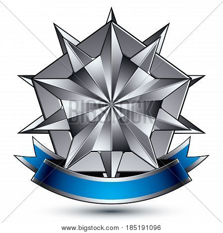Heraldic 3d glossy blue and gray icon - can be used in web and graphic design complicated silver star placed over shield magnificent element with elegant ribbon clear EPS 8 vector.