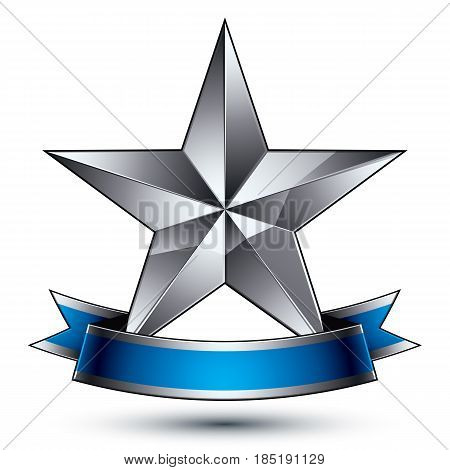 3d vector classic symbol sophisticated silver emblem with pentagonal star isolated on white background glossy argent element with blue splendid ribbon.