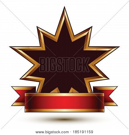 Glamorous vector template with polygonal black stars with golden outline best for use in web and graphic design. Conceptual heraldic icon with red curved ribbon clear eps8 vector.