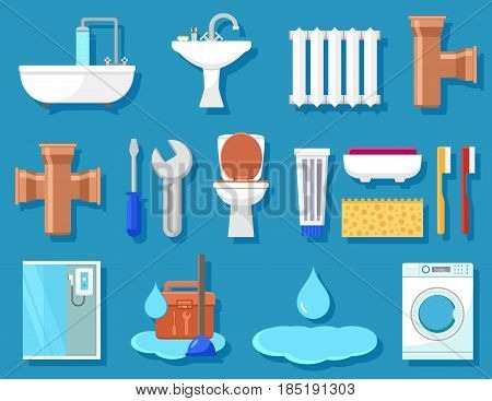 set of plumbing icons for bathroom for plumber work or bathroom interior furnishing icons