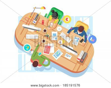 Conference office workspace. Business meeting, desk and computer table, flat vector illustration
