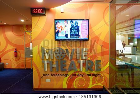 SINGAPORE - CIRCA AUGUST, 2016: Movie theatre at Singapore Changi Airport. Changi Airport is one of the largest transportation hubs in Southeast Asia.
