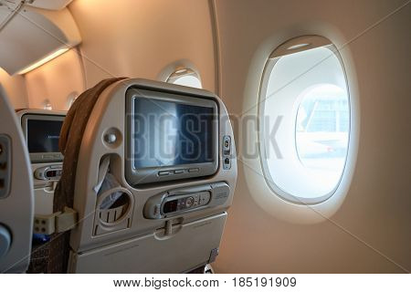 SINGAPORE - CIRCA AUGUST, 2016: inside Singapore Airlines Airbus A380. The Airbus A380 is a double-deck, wide-body, four-engine jet airliner.