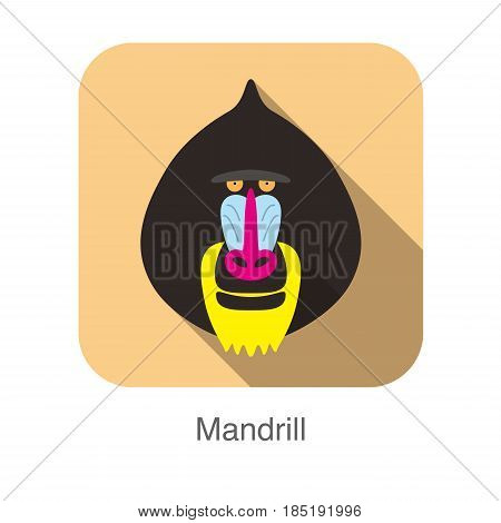 Cute Mandrill Baboon Face Flat Icon Design