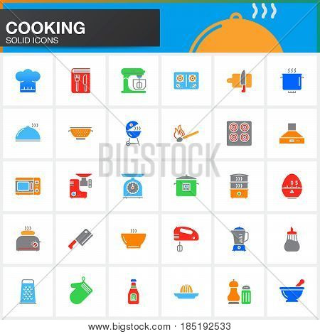Cooking vector icons set modern solid symbol collection pictogram pack isolated on white Signs colorful logo illustration