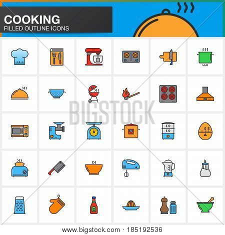 Cooking line icons set filled outline vector symbol collection linear pictogram pack isolated on white Signs colorful logo illustration