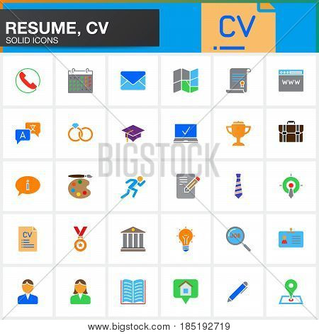 Vector icons set for Resume or CV. Modern solid symbol collection filled colorful pictogram pack isolated on white logo illustration
