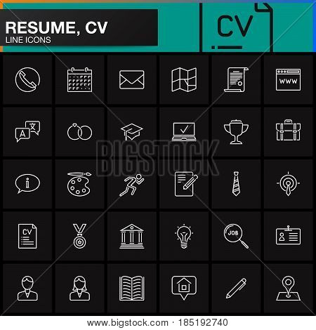 Line Icons set for Resume or CV. Outline vector symbol collection linear pictogram pack isolated on black logo illustration