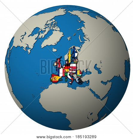 European Union Territory With Flags Over Globe Map