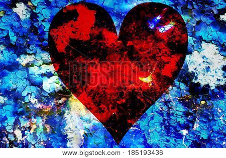 Heart in cosmic space, color cosmic abstract background. Crackle effect