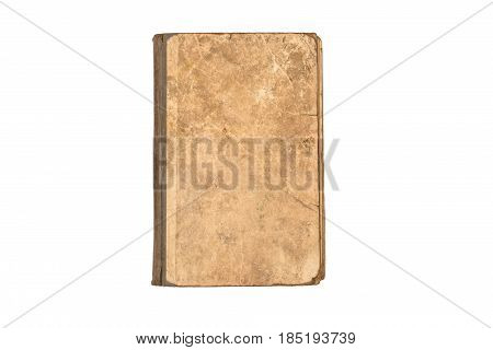 Old torn book isolated on white background. Vintage Tattered Book