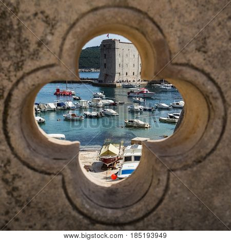 Dubrovnik's Old Harbour Seen Through A Decoration
