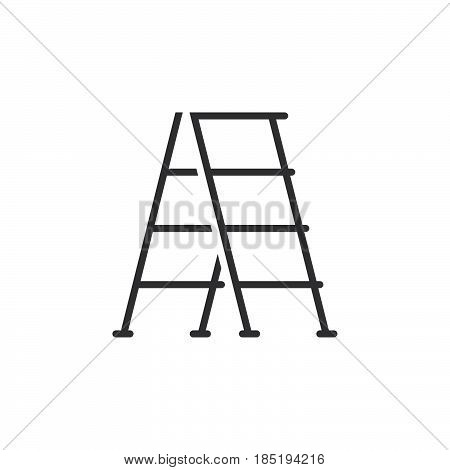 Step Ladder Line Icon, Outline Vector Sign, Linear Pictogram Isolated On White. Logo Illustration