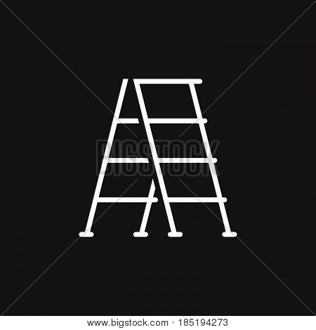 Step Ladder Line Icon, Outline Vector Sign, Linear Pictogram Isolated On Black. Logo Illustration