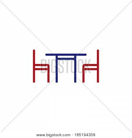Dinning Table Line Icon, Outline Vector Sign, Linear Colorful Pictogram Isolated On White. Logo Illu