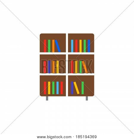 Bookshelf Icon Vector, Solid Flat Sign, Colorful Pictogram Isolated On White, Logo Illustration