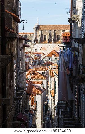 Looking Down A Street In Dubrovnik
