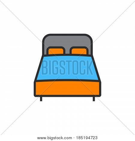 Double Bed Line Icon, Filled Outline Vector Sign, Linear Colorful Pictogram Isolated On White. Logo