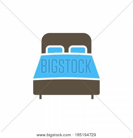 Double Bed Icon Vector, Solid Flat Sign, Colorful Pictogram Isolated On White, Logo Illustration
