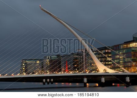 Samuel Beckett bridge on Liffey river in Dublin