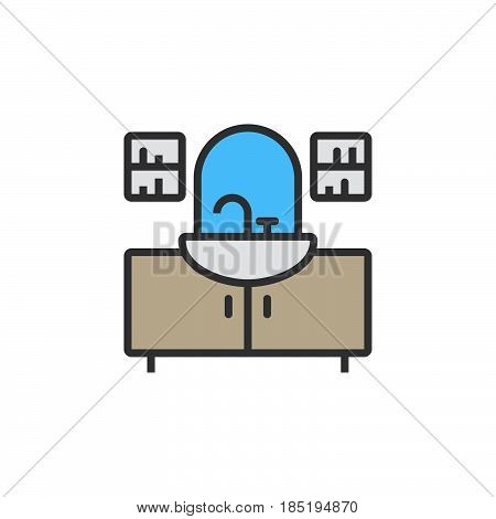 Washstand Line Icon, Filled Outline Vector Sign, Linear Colorful Pictogram Isolated On White. Logo I
