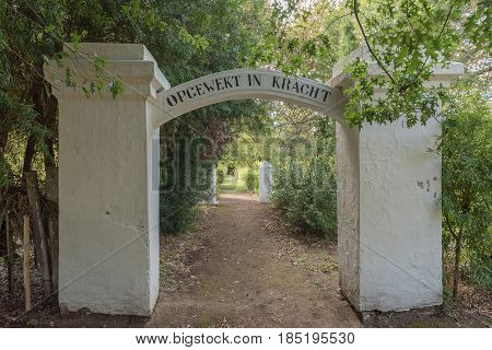 GENADENDAL SOUTH AFRICA - MARCH 27 2017: Entrance to the historic graveyard at the mission in Genadendal. Genadendal is the first mission station in South Africa founded 1738