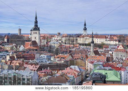 Aerial view to Niguliste church and Toompea (upper city) of Tallinn Estonia