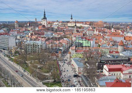 Aerial view of old city of Tallinn and the beginning of Viru street Estonia